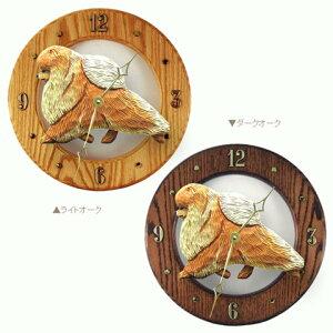 【ポメラニアン】美しい木製のムーブメントに樹脂製のフィギュアを合わせた壁掛け時計です。ウ...