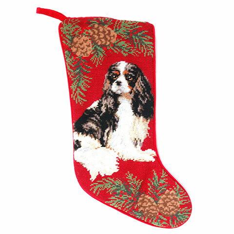 ニードルポイントのクリスマス・ストッキングL キャバリア1(from USA)犬グッズ クリスマスオーナメント