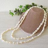 バロック淡水真珠120cmロングネックレス 愛嬌のある形でキュートに♪ 90センチロングだとムズカシイ2連巻も120cmなら簡単にできるので使い方の幅が広がります♪【メール便可】