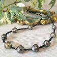 黒蝶真珠&ブラックスピネルネックレス 大珠真珠がつややか 華やかさあるブラックネックレスですnm