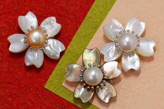11mm freshwater pearl & mother of pearl cherry tree broach pendant is the petal of a shell shining softly and the activeness with the freshwater pearl product of the large ball