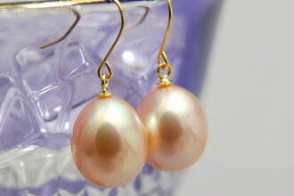K18YG grade 8 mm Freshwater Pearl Flower Earrings (earrings-friendly) metallic freshwater pearls in Al Corrie most popular piercing this! Happiness!? fireplace is a metallic shine drop-cute!