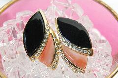 淡い桃色と艶めくブラックのコントラストが美しい!華やかなサンゴ&ブラッククリスタルイヤリ...