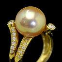 12mmゴールド白蝶真珠 ダイヤモンドK18YGリング 12号 超てり特級の美しきナチュラルゴールド南洋! サイズ変更可