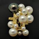 白蝶真珠・黒蝶真珠&淡水真珠 ダイヤモンドK14YG/PGリング 花珠級のゴージャスな輝き