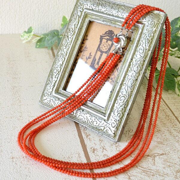 赤珊瑚5連ネックレス 上質な地中海産の赤珊瑚たっぷりの贅沢なネックレスを特価で!:ルコリエ