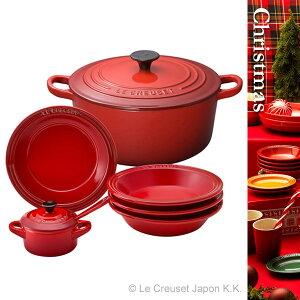 ル・クルーゼ 鋳物ホーローウェア/鍋/ギフトココット・ロンド 22cm クリスマス ファミリー・ギ...