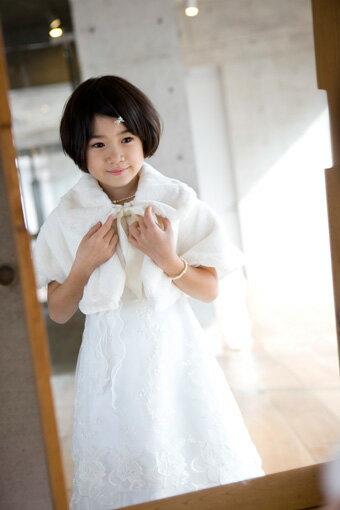 【レンタル/60〜100サイズ/v-09wh】ふわふわケープ(ホワイト) fy16REN07