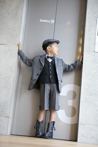 子供スーツレンタル おとこのこスーツ 入学式スーツ 男の子フォーマル 男児スーツ 入学式  結婚式 発表会 七五三 レンタルスーツ【レンタル/サイズ 100 110/b-05】MICHIKO LONDON 英国風スーツグレー系 fy16REN07