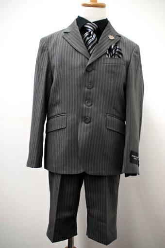 子供スーツレンタル おとこのこスーツ 入学式スーツ 男の子フォーマル 男児スーツ 入学式  結婚式 発表会 七五三 レンタルスーツ【レンタル/サイズ 100 120 130/b-45】MICHIKO LONDONストライプグレースーツ(ブラックシャツ) fy16REN07