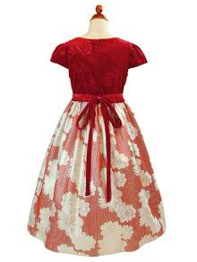 ベロア&フローラルブロケードドレス