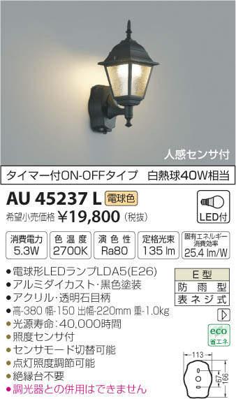 コイズミ『ポーチ灯(AU45237L)』