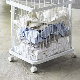 ランドリーバスケットtowerタワーランドリーワゴン+バスケットM/L3点セット2段キャスター付きワイヤーおしゃれ洗濯かご大容量ランドリーラック