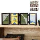 リンキングフレームフォトフレーム置き型L版×8枚写真立ておしゃれ複数木製押し花折りたたみ両面ギフトプレゼント北欧木目