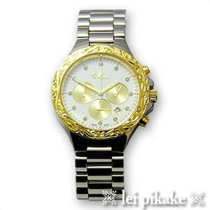 ハワイアンジュエリーメンズ男性時計Maxiスクロールウォッチ時計シルバー×ゴールドマキシプレゼントラッピングレディース女性ユニセ