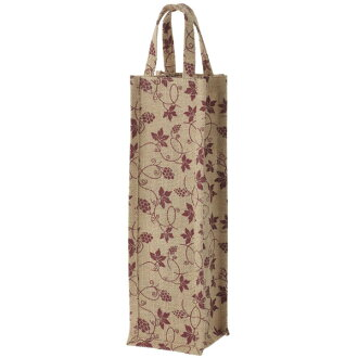 亞麻酒袋一個葡萄設計酒紅色