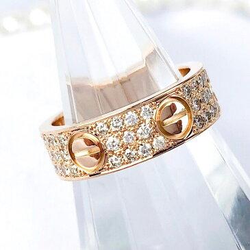 【保証書付/仕上済】カルティエ ラブリング PG 8号 ダイヤ ダイヤモンド レディース 指輪 リング 【中古】【送料無料】