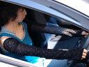 フリーサイズ 全長約68cm 天然UVカット シルクの アームカバー 肩まですっぽりロングタイプ 蒸れにくい内側メッシュ編み