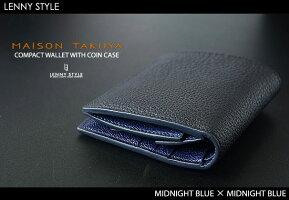 MAISONTAKUYA(メゾンタクヤ)二つ折りロングウォレット(長財布)ミッドナイトブルー×ミッドナイトブルー-TT2-WALLET/TT2小銭入れ付コンパクトウォレット(小銭入れ付二つ折り財布)ミッドナイトブルー×ミッドナイトブルー