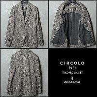 チルコロ1901(CIRCORO1901)ヘリンボーンプリントストレッチテーラードジャケット-チャコール