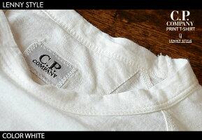 CPカンパニー(シーピーカンパニー)(C.P.COMPANY)ロゴプリント半袖Tシャツ-ホワイト