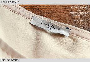 チルコロ1901レディース(CIRCOLO1901)半袖ストレッチワンピース-アイボリー