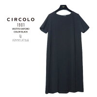 チルコロ1901レディース(CIRCOLO1901)半袖ストレッチワンピース(VESTITOOXFORD)-ブラック(nero)