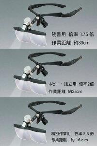LEDライト付非球面ヘッドルーペマルチコート・ハードコート【HM-100WLED】メガネフレーム型軽量タイプ読書・ホビー・精密作業眼鏡の上からご使用できます。MadeinJapan(日本製)母の日父の日敬老の日プレゼントに!