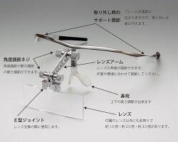 メガネ型ヘッドルーペ【MA123】アルミ製メタルフレームレンズ交換可能日本製【レンズ倍率一枚選択】