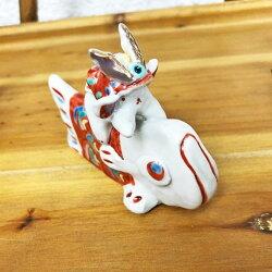 九谷焼陶人形作家多田利子作『鯉にかぶとうさぎ』