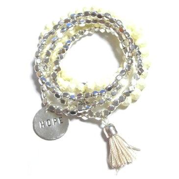 CATHAMMILL キャットハミル オーストラリア ブレスレットセット Tassel bracelet set silver レディース 可愛いブレスレット 重ね付け かさねつけ タッセルチャーム ホワイト シルバー ポジティブメッセージチャーム テグス アクセサリー 海外 ブランド