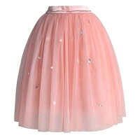 ChicwishシックウィッシュチュールスカートDiamondsinMyHeartPinkTulleSkirtピンク無地装飾ウエスト一部ゴムかわいいおしゃれキラキラ可愛いスカート淡い色海外ブランド在庫のみ