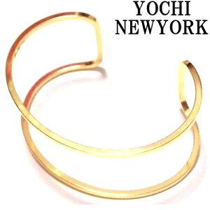 Yochi NEWYORK ヨキニューヨーク バングル ゴールド 18金 ワイド レディース シンプル かっこいい 真鍮 幅広い C型 おしゃれ かわいい Wire Open Cuff gold バングル ゴールドメッキ 幅広 太め ブレスレット お洒落 軽い 可愛い ペア 海外ブランド 正規輸入品
