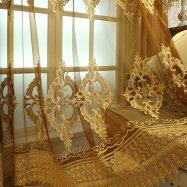 Leyカーテン刺繍ドレープカーテン、おしゃれ高級綺麗2倍ヒダタイプ、遮光カーテンリビング、寝室、客室に合うタイプ