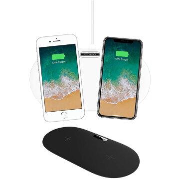 2台同時充電 Qi ワイヤレス デュアル チャージャー 充電器 急速充電対応 充電パッド 10W 7.5W 5W QC3.0 iPhone Android Samsung Galaxy ◇FAM-QX910F【メール便】