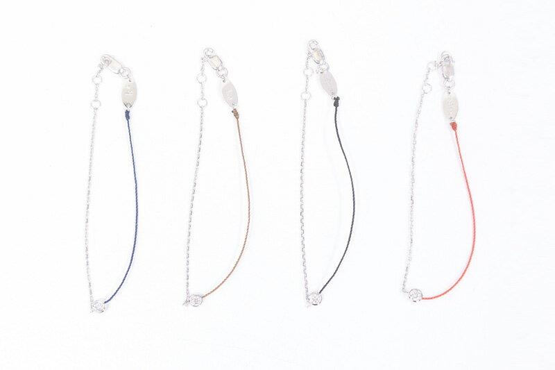 Redlineレッドラインチェーン付き1粒ダイヤブレスレット【全4色】:LICAVOU select