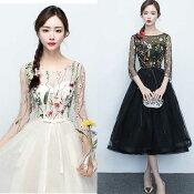 【11月11日20時新作】花畑のようなフローラルプリントが魅せる!刺繍入りチュールのワンピースドレス