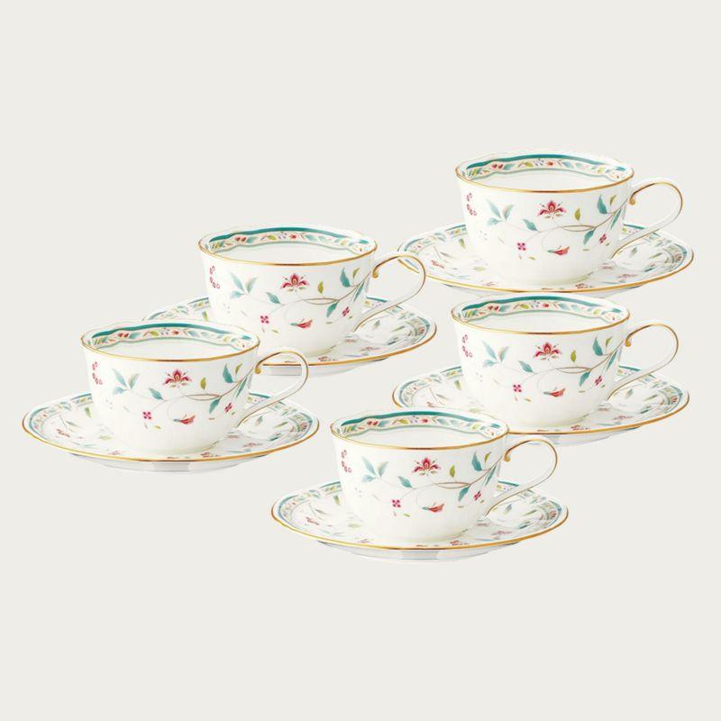 【ノリタケ】花更紗 ティー・コーヒー碗皿5客セット内祝い お返し 出産内祝い 結婚お祝い 結婚内祝い プレゼント 誕生日 コーヒー5客セット 記念品