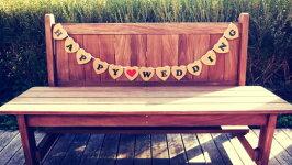 フォトプロップスハートプレート(JUSTMARRIED)/(HAPPYWEDING)BROWN結婚式・二次会・誕生日会写真小道具ガーランド