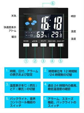 温度計 湿度計 温湿度計 デジタル温度計 気象計 目覚まし時計 アラーム 置き時計 【デジタル 室内 おしゃれ 高精度 小型 最高最低温湿度表示 温湿度表示 音センサー 自動点灯 バックライト 卓上カレンダー スヌーズ LCD大画面 多機能 】天気予報 日本語説明書付き