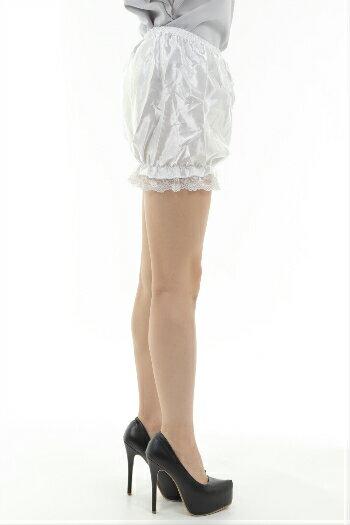 かわいい つるつる サテンのかぼちゃパンツ  レース付き ドロワーズ メイド服 サテンパンツ