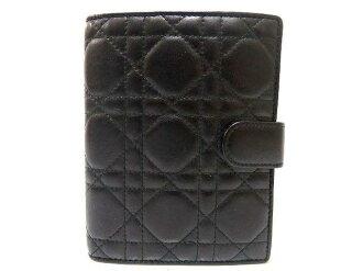 美品Dior女士Dior皮革筆記本覆蓋物黑0286Christian Dior黄金