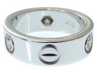 新品同様 新品仕上げ カルティエ ラブリング 3P ハーフダイヤ K18WG  750 リング 47 指輪  0461【】Cartier