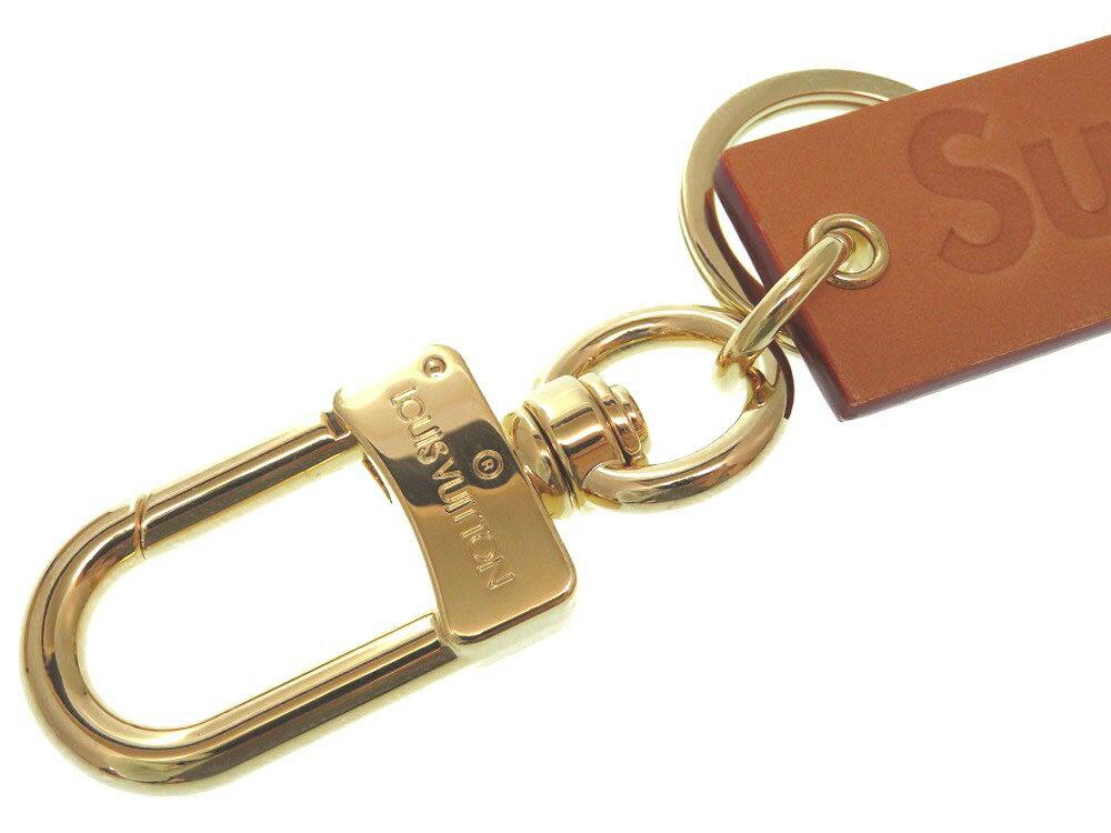 ルイヴィトン × シュプリーム ボックスロゴ ヌメ革 ブラウン バッグチャーム MP2075 キーホルダー LV 0160 【中古】 LOUIS VUITTON