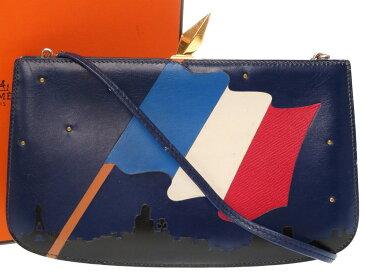 エルメス サックアマリース ボックスカーフ ブルー フランス国旗 〇S刻印 ショルダーバッグ バッグ 0367 【中古】 HERMES