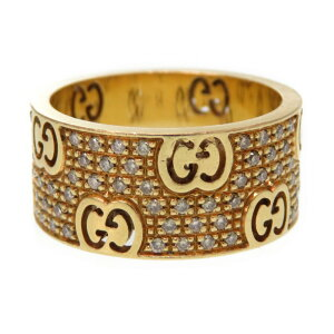 Gucci K18YG Icon Stardust GG Logo Yellow Gold 750 Pave Diamond Ring Ring No. 14 Weight 9.3g 0228 [Used] GUCCI Unisex