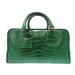 罗意威(Loewe)Amazona 28鳄鱼皮绿色手提包(绿色)0057 [二手]罗意威