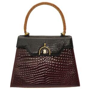 Good Condition Barry Tricolor Crocodile Bordeaux Navy Brown Handbag Bag Crimson Navy Blue 0062 [Used] BALLY Croco