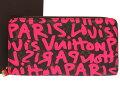 新品同様 ルイ ヴィトン モノグラムグラフィティ ジッピーウォレット フューシャ ピンク M93710 ラウンドファスナー 長財布 財布 LV 0265 【中古】 LOUIS VUITTON