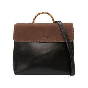 As good as new Loewe Twist Vintage Leather Black Brown Handbag Bag Black Brown 0032 [Used] LOEWE